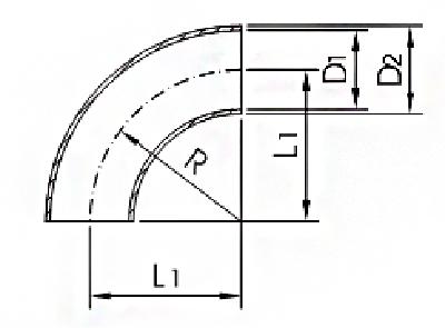 Отводы нержавеющие приварные 90° по DIN 11852. Конструкция и размеры